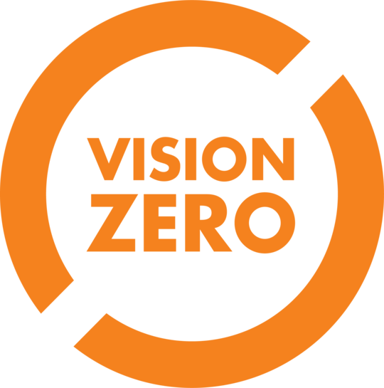 Orange and white Vision Zero logo