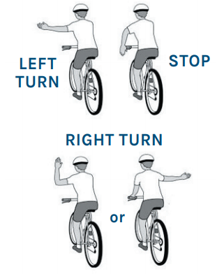 Four images of a short-haired bicyclist from behind. They are riding while using turn signals with their hands. The rider signals left, stop, or right turn.