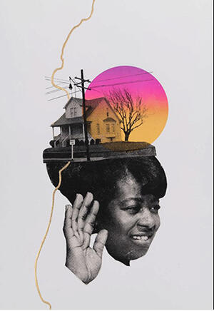 multi media image of black woman raising hand with house
