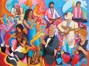 Mural showing different musicians