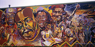 Mural depicting Martin Luther King, Jr and other civil rights activists