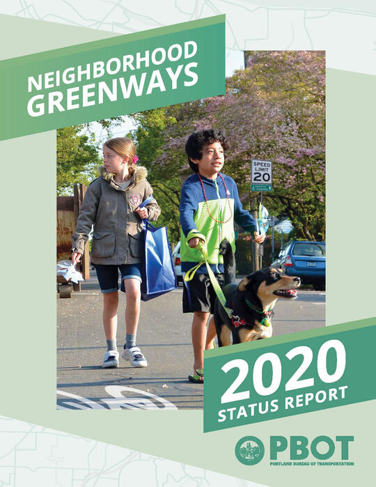 Cover image for the 2020 Neighborhood Greenways Status Report with photo of two children walking a dog on a neighborhood greenway street.