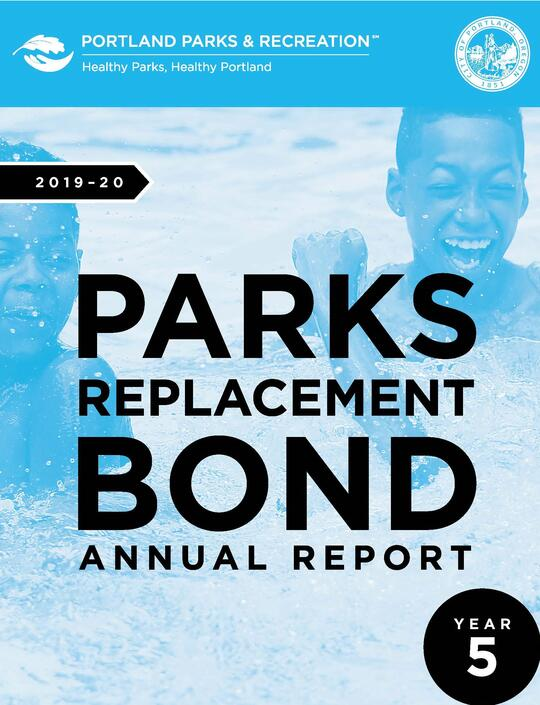2019-20 Parks Replacement Bond Annual Report Year 5 cover shows boys in Peninsula Pool