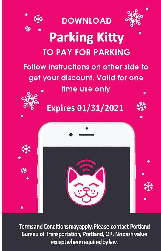 Front side of the Parking Kitty holiday voucher