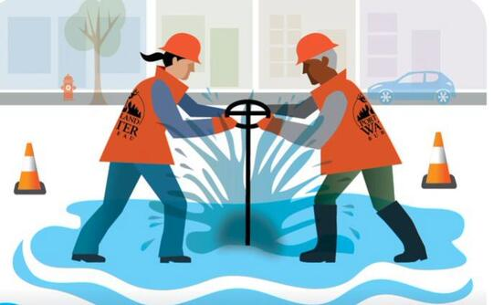 Cartoon of two Water Bureau employees turning off a water main in winter weather