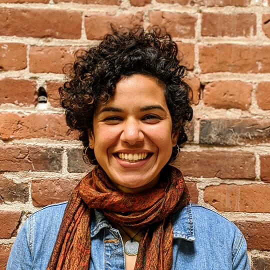 Vee Paykar smiles in front of a brick wall with a brick colored scarf and blue denim shirt.