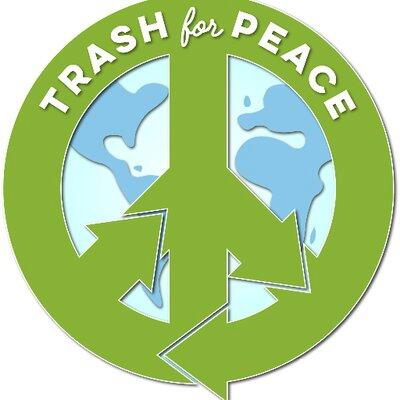 "Trash for Peace organization logo, a globe surrounded by a combination of the symbols for ""peace"" and ""recycling"""