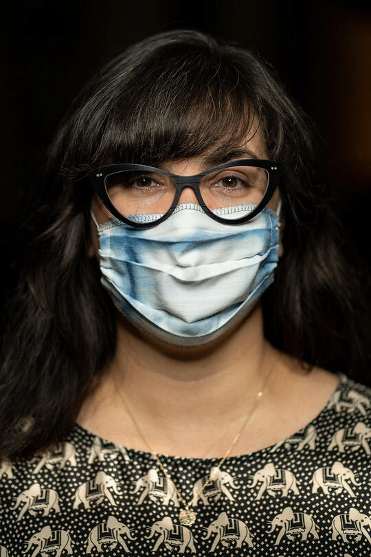 Image of Chariti Li Montez wearing her mask