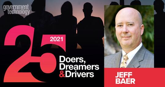 Text on left side of screen reads: Government Technology's Top 25 Doers, Dreamers & Drivers - over a silhouette of people. Headshot of Jeff Baer is on the right side.