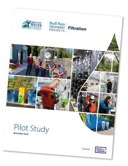 Cover of the Pilot Study Report with color photos of people working at the pilot facility.