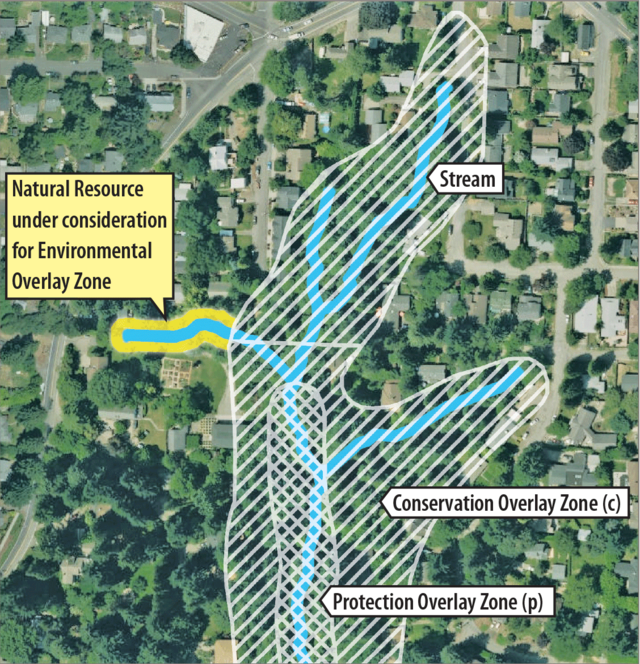 A satellite map showing a stream, with a part of it highlighted, that is under consideration for e-zones.
