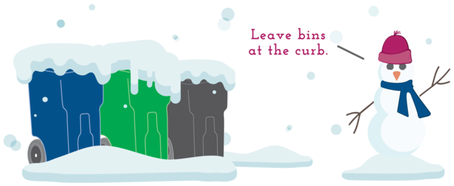 "An illustration showing garbage bins with snow on them, and a snowman saying ""Leave bins at the curb."""