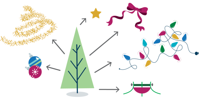 An illustration showing a christmas tree with all of the decorations removed