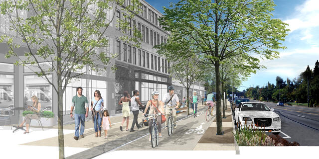 A rendering of 122nd Avenue with a protected bike path and sidewalk