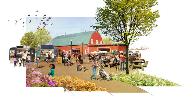 A rendering showing a barn with food carts and seating in front of it, people walking and eating