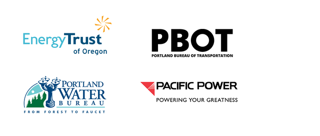 Energy Trust, Pacific Power, Portland Bureau of Transportation, and Water Bureau logos