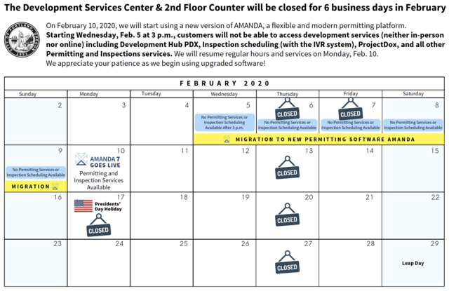 Feb 2020 calendar showing closures and availability.