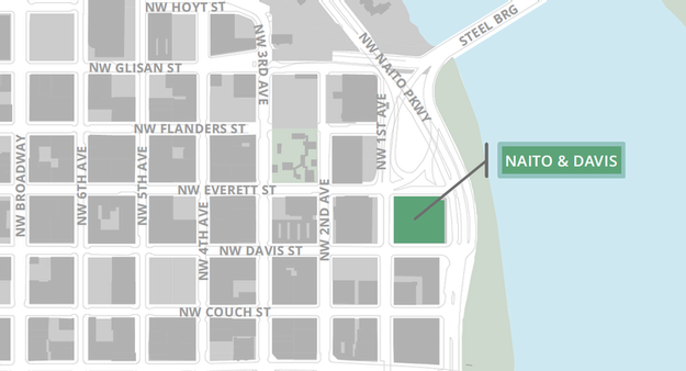 Map of Downtown Portland Heliport on top of the Naito and Davis SmartPark garage