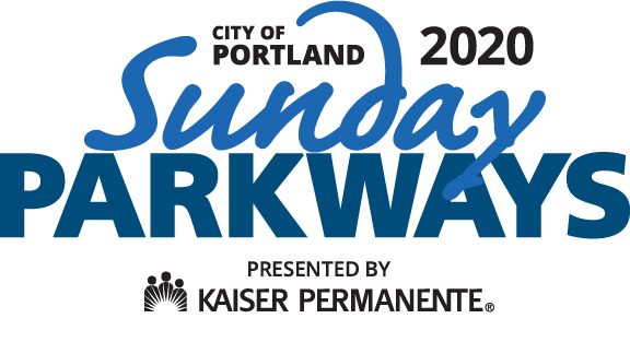 Blue, navy and black text writes City of Portland Sunday Parkways presented by Kaiser Permanente