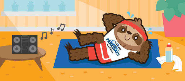 A smiling cartoon sloth wearing a white Sunday Parkways tank top lies on its back on a blue towel doing fitness activities to music.