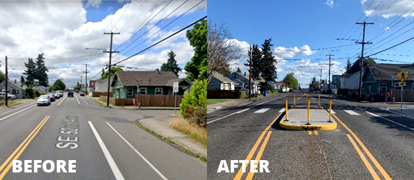 New ADA curb ramps, a median island, and a high-visibility crosswalk at the recently completed Fixing Our Streets funded Safe Routes to School project at SE 52nd and Knapp Street will help students safely walk, bike and roll to both Lewis Elementary and Lane Middle School. Photo by PBOT.