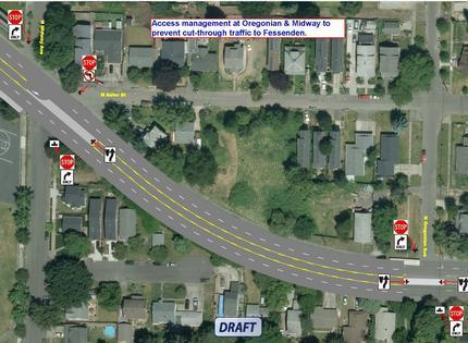 NE Columbia Pedestrian Improvements N Bank to N Macrum access management map