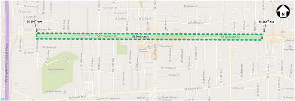 East Portland Access to Transit SE Division St Sidewalk Infill Limits Map