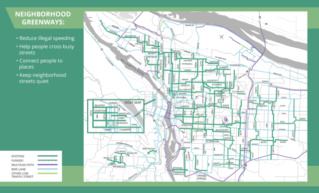 "Map of neighborhood greenways with text: ""Neighborhood Greenways: Reduce illegal speeding, Help people cross busy streets, Connect people to places, Keep neighborhood streets quiet"""