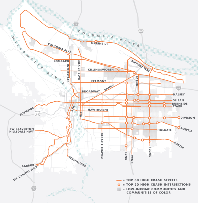 Map of Portland's High Crash Network. Top 30 high crash streets are shown in orange on a gray backrground.