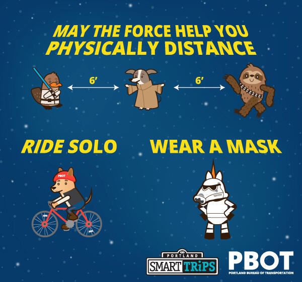 Five cartoon-style characters wearing Star Wars-themed outfits with messages: May the force help you physically distance, ride solor, and wear a mask