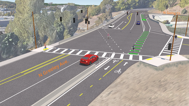 Rendering of the improvements provided by the N Greeley Multi-use Path and Paving Project