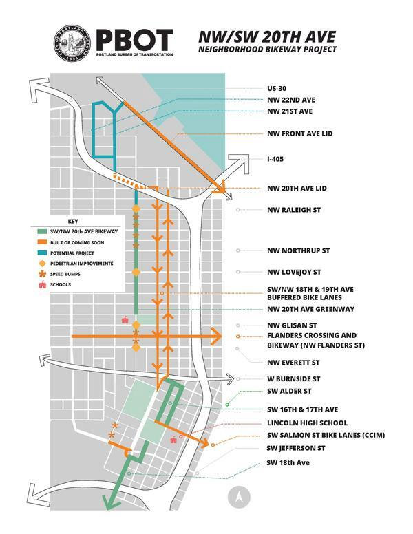 NW 20th Ave Neighborhood Greenway map