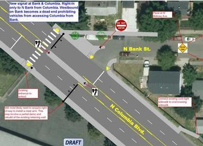 NE Columbia Pedestrian Improvements N Bank to N Macrum design option A