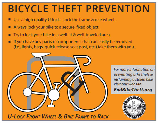 Graphic of front wheel and bike frame locked to a bike rack with an orange background