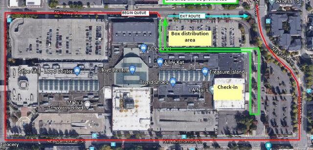 This map shows the Lloyd Center Mall and the entrance on Halsey for the food box giveaway.
