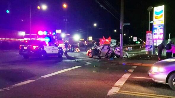A deadly crash on August 12, 2019, at SE Division Street & 112th Avenue. Image: KPTV Fox 12 Oregon.