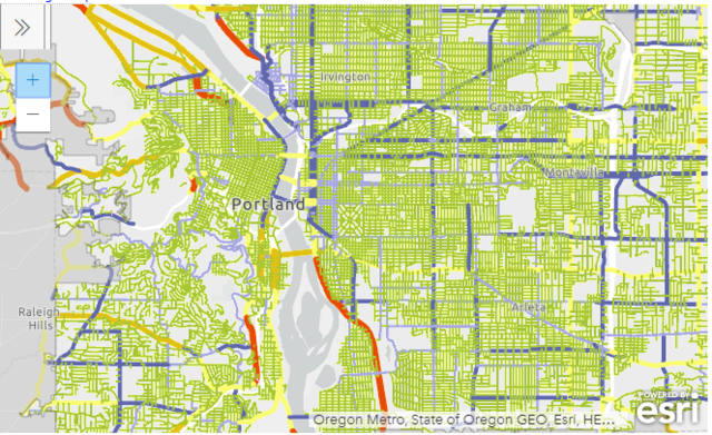A preview of the interactive GIS map of Portland speed limits