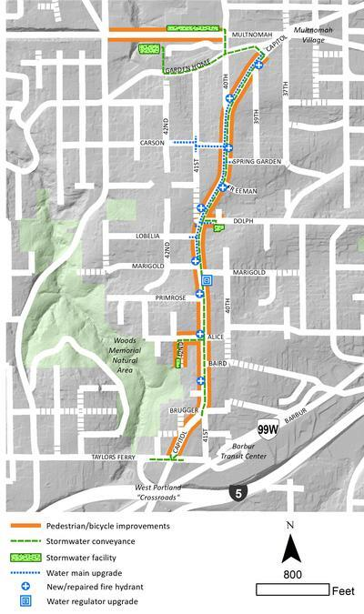 SW Capitol Hwy Multnomah Village to West Portland project map