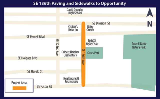 SE 136th Paving and Sidewalks to Opportunity Map