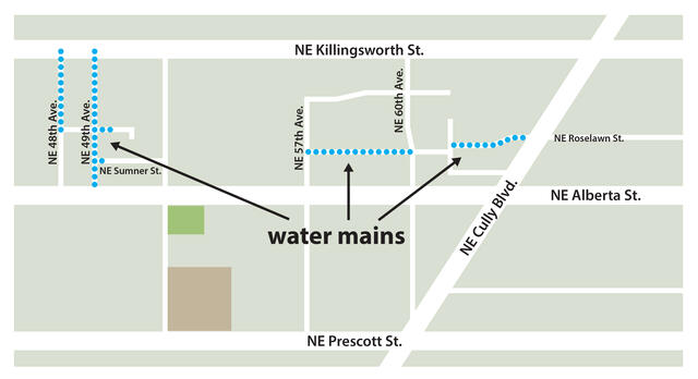 Illustrated map showing work sites. NE Killingsworth is at the top of the map, NE Prescott on the bottom, and the cross street in the middle is NE 57th.