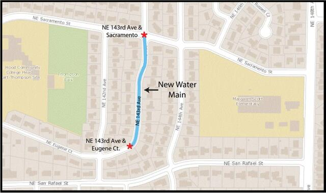 A map showing the water main replacement along NE 143rd Avenue in between NE Sacramento Street and NE Eugene Court
