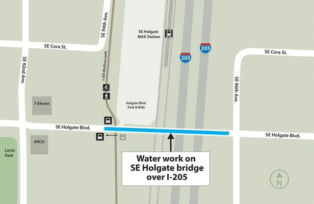 A map showing the the construction across SE Holgate bridge, over I-205 between SE 92nd and 96th Ave.