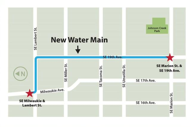 A map showing the water main replacement along SE 19th Ave between SE Lambert Street and SE Marion Street