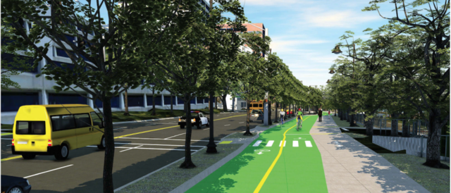 A rendering of the future SW Naito Parkway between I-405 and SW Jefferson Street, showing the new mid-block pedestrian crossing between SW Harrison and Clay streets. Illustration by PBOT.