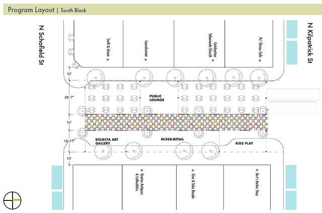The program layout for the southern block of the Denver Ave Plaza.