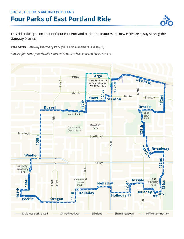 map of suggested route for bike ride visiting several East Portland parks.