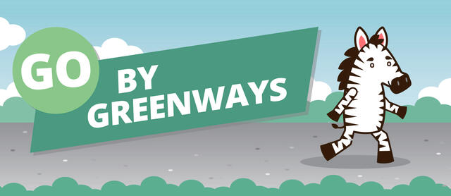 "A banner with logo that reads ""Go By Greenways"" and illustration of zebra character walking"