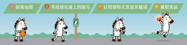 Graphic shows the four steps of how to play Go By Greenways, which are listed below. There is a cute cartoon zebra walking us through the steps.