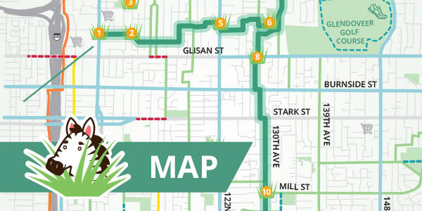 A section of the Go By Greenways printed map with green header that says MAP and a zebra's head hiding behind a patch of grass