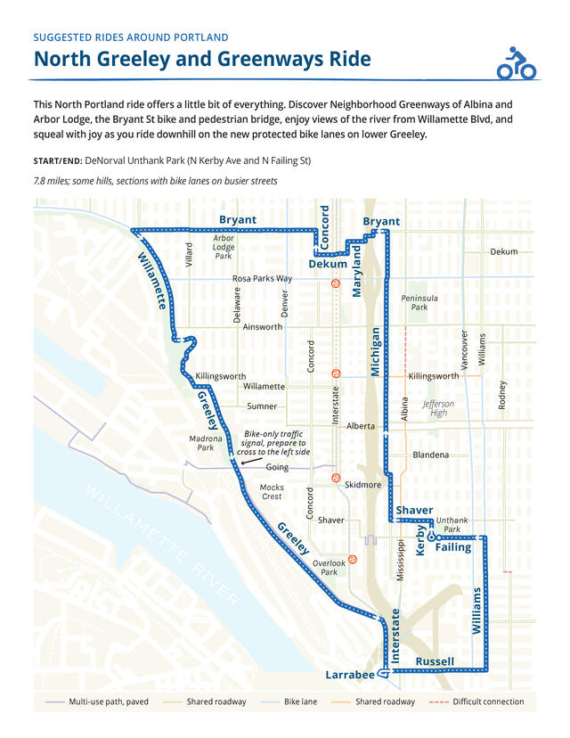 Map of a route for a bike ride on neighborhood greenways in North Portland and the N. Greeley bike path.